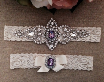 Purple Wedding Garter - Lace Garter Set - Rhinestone Garter - Crystal Garter - Toss Garter - Bridal Garter - Wedding Garter Belt