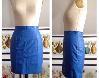 Vintage Fun 1980s Bright Blue High Waisted Leather Skirt