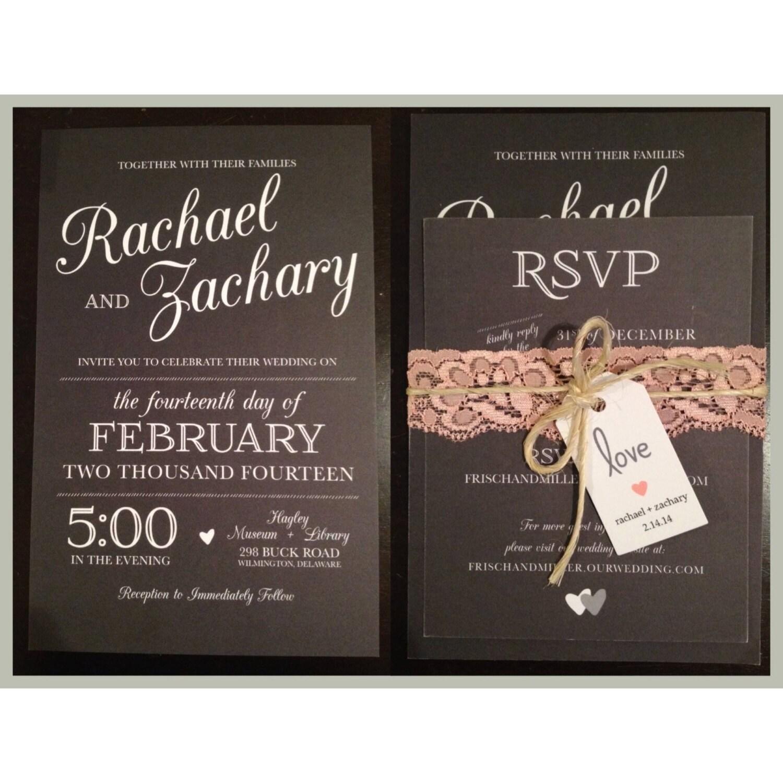 Black & White Rustic Wedding Invitation