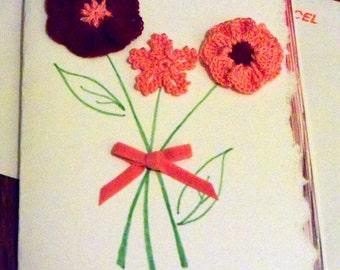 Crocheted bouquet of flowers blank note card
