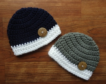 Crocheted Baby Boy Twins Hat Set, Dark Navy/White & Pewter Gray/White with Coconut Shell Buttons, Newborn to 24 Months - MADE TO ORDER