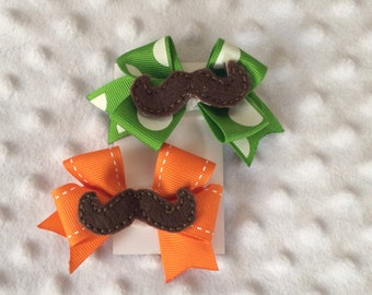 Mustache Hair Bow , Hair Accessory , Mustache Feltie , Mini Pinwheel Bow , Barrette , With Removable Clip , Sold as Set of Two