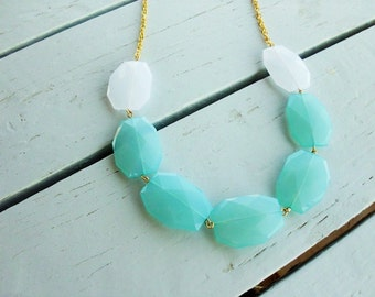 Pool Blue Necklace, Bridesmaid  Necklace, Chunky  Necklace, White and Blue weddings