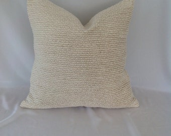 Cream Cotton / Chenille Pillow Cover