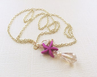 ON SALE Purple Starfish Necklace