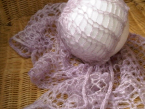 Knitting Pattern For Mohair Blanket : Mohair knit blanket & bonnet set ROSA handknitted photo