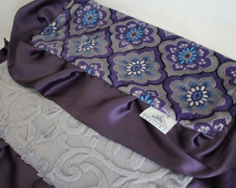 Majestic Tile Indigo with Gray Embossed Vine Minky Blanket, Lovie, Lovey - Purple, Gray, Turquoise - Baby Blanket, Shower Gift