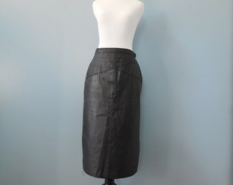 Vintage 80s black leather skirt leather pencil skirt long leather skirt high waisted skirt womens medium
