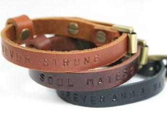 2x His Hers Matching Bracelet, Couple Bracelet, Leather Bracelet, Custom Bracelet, Personalized Bracelet, Anniversary Gift, Cuff, Bracelet