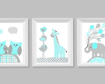 Aqua and Gray Nursery Elephant Giraffe Owl Balloons Birds Gender Neutral Baby Room Decor Children Playroom Kids 8 x 10 or 11 x 14 Set of 3