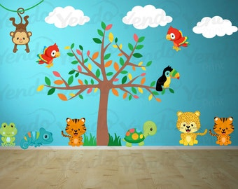 Wall Decals for Kids Bedroom - Jungle Wall Decal - Safari Wall Decal - Tree Wall Decal - Jungle Animal Wall Decals