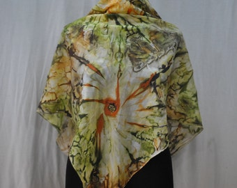 Vintage SILK scarf hand dyed .....