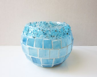 Crystal Pop Blue-stained glass mosaic candle holder, votive, sky blue glass bowl, crushed glass, mosaic home decor, pop art, christmas gift