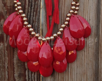 Red necklace Bib necklace Bubble necklace Statement Necklace two layer teardrop necklace for women gift bead necklace beaded necklace