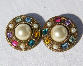 Huge Flying Saucer Rhinestone Earrings from the Sixties