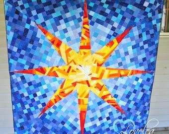 Sun Burst Modern Lap Quilt/Wall Quilt