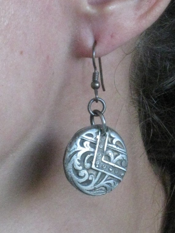 Sterling silver cast earrings - One of a kind - Handmade original