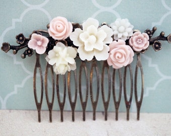 Ivory and dusty pink flower cherry blossom hair comb, bridal hair comb, Resin rose hair comb, brass leaves,  No. H28