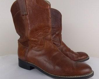 SALE** Boy's/Men's Brown Leather Justin Roper Cowboy Boots sz 5 1/2 D #1342014SB