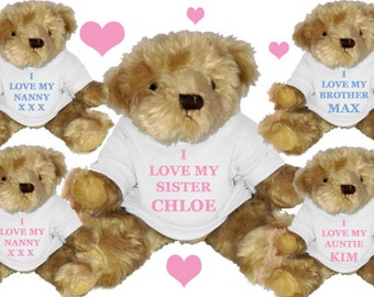 PERSONALISED  BEAR  I love any family member any name OR Design your own