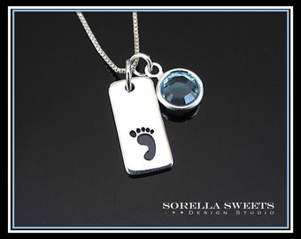Mothers Necklace, Footprint Necklace with Birthstone, Baby Footprint, Moms Necklace, Sterling Footprint Necklace, Silver Footprint