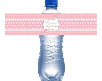 Printed Water Bottle Labels Baby Shower- Tickle Pink, Baby Bird Personalize Labels