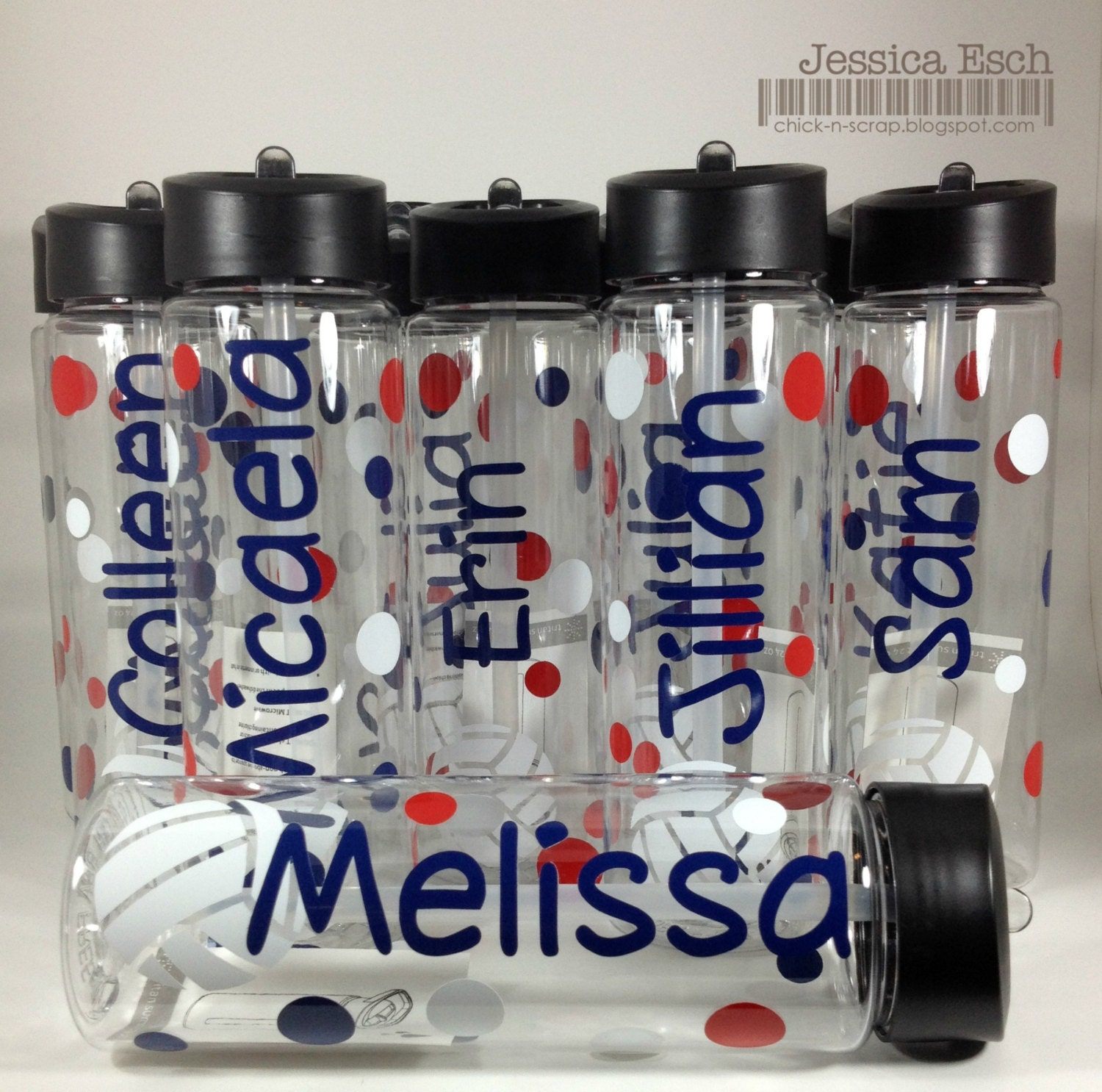 personalized volleyball water bottlesteam gift custom design