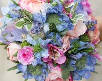 Summer blush silk bridal bouquet