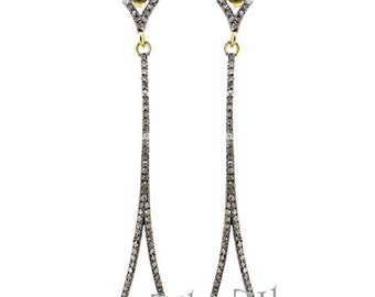 Pave Diamond Earring  Dangle Pave diamond Earring of Sterling Silver Studded with Natural Diamond