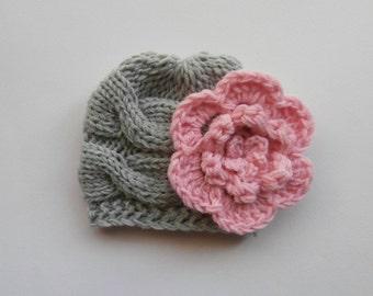 Newborn Baby Beanie Hat, Knit Baby Hat, Girls Beanie Hat , Newborn Baby Hats , Baby Hat Photo Prop , Knit Baby Hat