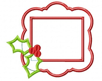 Holly Frame Machine Embroidery Design