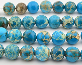 "16""  Blue Sea Sediment  Round Beads  Imperial  Gemstone Loose"