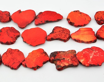 "16""   Red  Turquoise  Slab   Nugget   Beads"