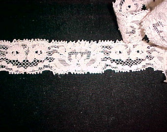 """Vintage Cotton Lace, Ecru w/Rose Cast to it.  2 yds 30"""" x 1"""""""