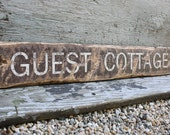 Guest Cottage Directional Rustic Distressed Wood Sign