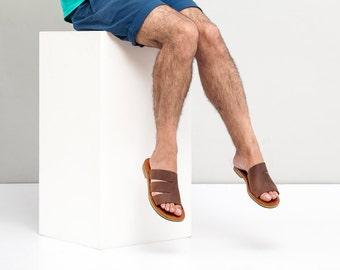 Leather sandals - flat sandals - Strap sandals - Man sandals - Brown Leather Sandals - slides sandals