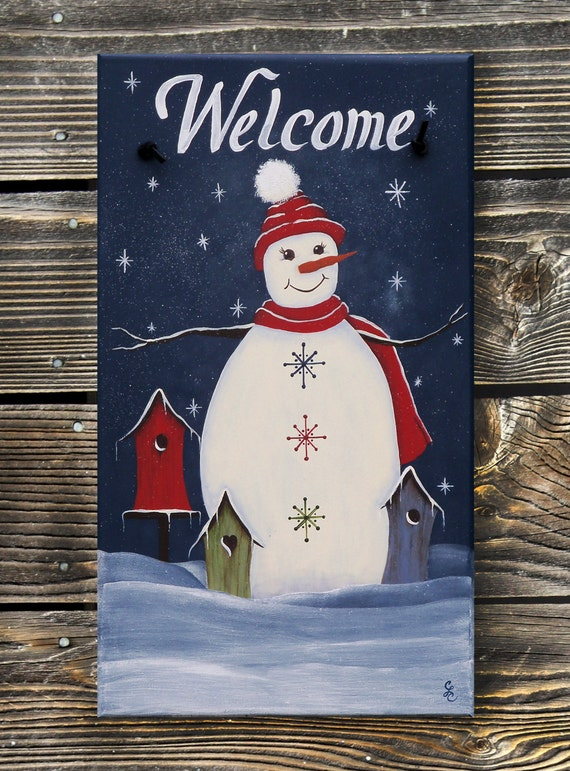 Snowman Decor Welcome Sign; Personalized with family name FREE! Hand Painted