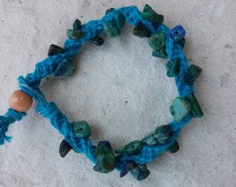 Chrysocolla hemp bracelet