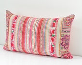 """Boho Bohemian Rare VINTAGE Full Handmade HMONG Textile Embroidered Ethnic Made A Piece Of Tradition Costume Pink Pillow Case 12"""" x 20"""""""