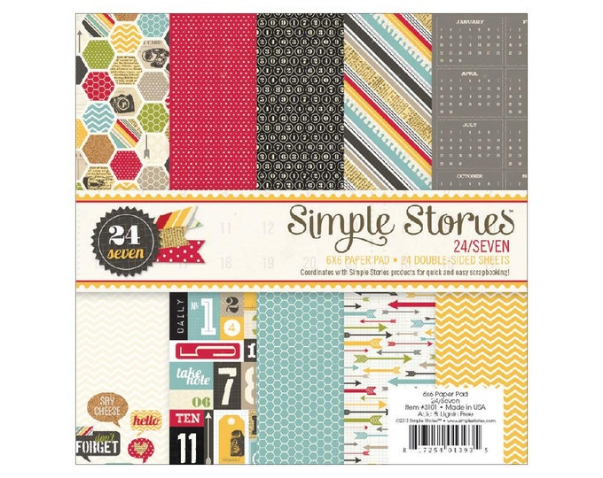 Simple Stories 24/SEVEN (24/7) Theme 6x6 Scrapbook Paper Pad - Great for mini albums and card making!