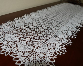 "32"" long beautifully crafted lace knit table runner - white- ready to ship"