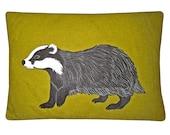 Harris Tweed badger cushion
