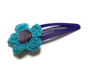 Crochet hair clip for children, Crochet Turquoise Flower Clip