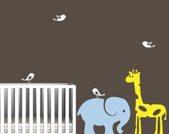 Nursery decal with Giraffe and Elephant