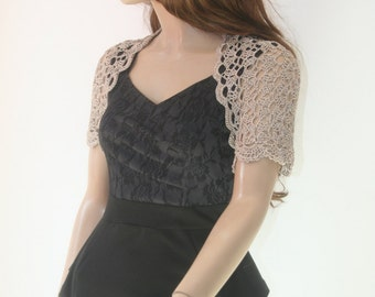 Wedding Bridal Bolero Shrug Lace Crochet Knit Shrug Boleros Silk Taupe Beige