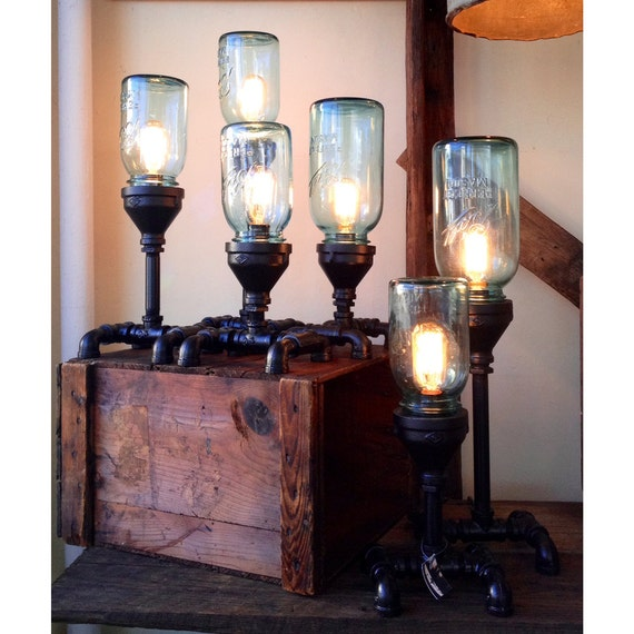 Items Similar To Mason Jar  U0026 Gas Pipe Steampunk Lamp On Etsy