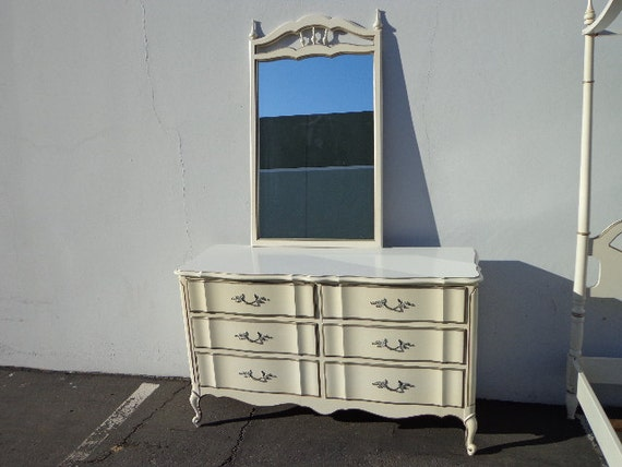 French provincial bureau mirror dresser chest of drawers for Bureau with mirror