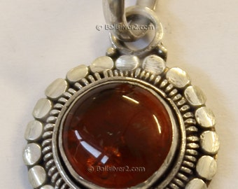 Sterling Silver 925  Bali Design Natural Baltic Amber oxidized Pendent
