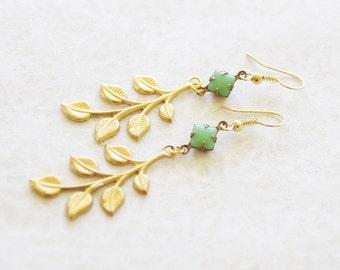 Gold Leaf Earrings * Etched Brass Leaf Earrings * Eco-friendly Earrings * Bridal Earrings * Simple Earrings