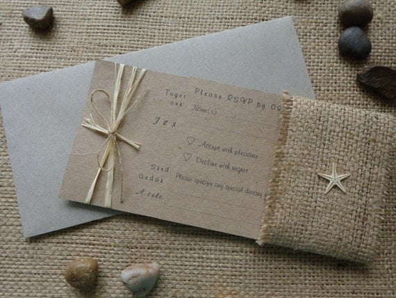 Rustic Wedding Invitation Sets: Rustic Beach Wedding Invitation Set Invitation RSVP